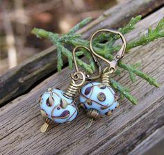Raku lampwork glass and antiqued brass earrings - PinkPoppyStudio