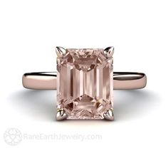 Morganite Ring Solitaire Morganite Engagement Ring Emerald Solitaire 14K or 18K