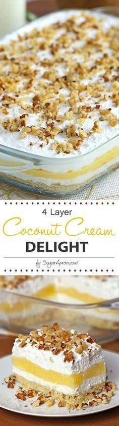 Cream Delight Coconut Cream Delight - Its just one of those desserts that stays with you!Coconut Cream Delight - Its just one of those desserts that stays with you! Coconut Desserts, Brownie Desserts, Cold Desserts, Oreo Dessert, Pudding Desserts, Coconut Recipes, Sweet Desserts, Dessert Bars, No Bake Desserts