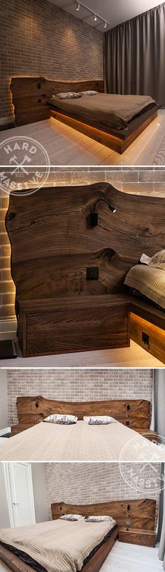 Floating double bed and nightstands. Large bed made of solid woods Karagach and Chinar. Cover - eco oil-wax. Beautiful LED lighting. #floatingbed  #double bed #bedledlights