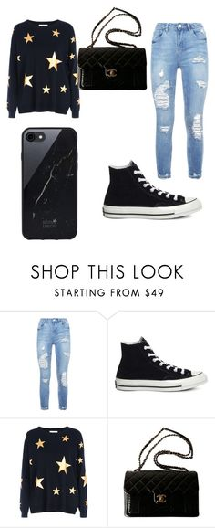 """look gotico"" by manoeladeaguiar-farias ❤ liked on Polyvore featuring Converse, Red Herring, Chanel and Sefton"
