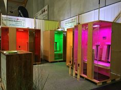 Colorful infrared Saunas with LED colorlight from Gurtner Wellness GmbH in Austria