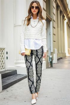 Printed pants and a cropped sweater... great way to layer a cropped sweater under a button down blouse!