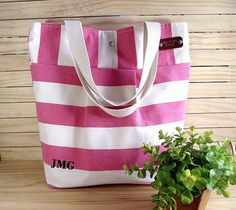 Personalized Monogrammed Canvas Tote Bag by liliavaniniboutique, $68.00