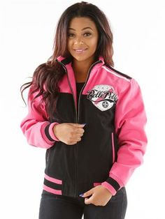 PELLE PELLE - unstoppable twill jacket -  this women''s cotton twill blouson jacket is premium pelle pelle. it features eye-catching color-blocked panels and detailed artwork constructed from pelle synthetic appliqués, embroidery, and hand-set rhinestones.