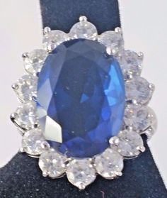 Kenneth Jay Lane KJL Simulated Sapphire Crystal Ring Diana Size 7 #KennethJayLane #Cocktail