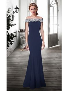Formal Evening Dress - Dark Navy Plus Sizes / Petite Trumpet/Mermaid Off-the-shoulder Floor-length Lace - USD $ 119.99