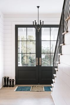 Brilliant Black Glass Front Door and 25 Best Black Front Doors Ideas On Home Design Black Exterior Unique Front Doors, Black Front Doors, Double Front Doors, Front Door Entrance, Glass Front Door, Entryway Stairs, Glass Door, Double Doors Entryway, Entryway Ideas