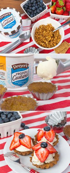 Dreyer's Red, White, and Blueberry Mini Frozen Custard Cakes: Create some delicious fun for your family this summer! Evenly fill graham cracker crumbs into a small cupcake tin, then remove the mold. Place a scoop of Dreyer's Old Fashioned Vanilla Frozen Custard on top. Add blueberries and sliced strawberries before serving. It really is that easy to whip up a no-bake dessert recipe with the fruity flavor your kids love.