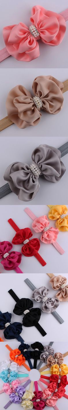 12pcs/set Best Selling Baby Girls Headband Boutique Rhinestones Pearl Silk Bows Hairband Children Hair Accessories 2016