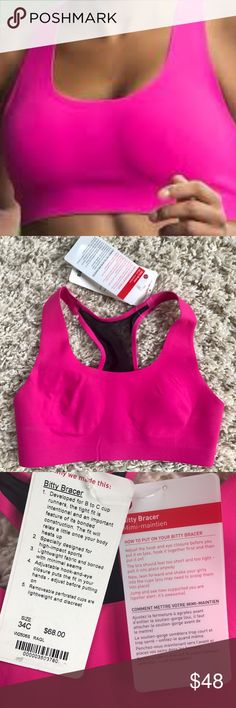 """RARE Lululemon Raspberry Glo Bitty Bracer Bra 34C Brand new with tags attached, perfect condition. Very rare! Lululemon """"Bitty Bracer"""" sports bra. From Lulu: Key features specially designed for B to C-cup athletes fits tight for maximum support - it will relax and mould to your body as you wear it lightweight Swim fabric is soft against the delicate skin of your bust bonded construction moulds to your body shape as it warms up adjustable hook-and-eye closure puts the fit in your hands…"""