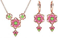 Lucia Costin Jewelry Set Necklace and Earrings Crafted in 24K Pink Gold Plated over 925 Sterling Silver with Light Green and Pink Swarovski Crystals Enriched with Star Shaped Flowers Twisted Lines and 3 Dangle Stones *** You can find more details by visiting the image link.