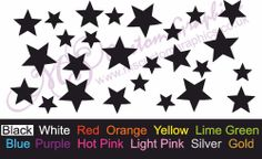 26 x STARS Sticker Pack A4 Sheet, Car, Bathroom Bedroom Mirror Wall Decal