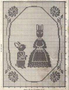 Bunny Filet Crochet Pillow  Free Crochet Pattern