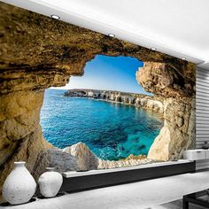 Cave Seascape Nature Wallpaper Mural, Custom Sizes Available
