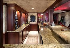 Looking for home bar ideas? This authentic cherry basement pub features a granite bar top, custom moldings, and carved corbels. Baltimore House, Bar Plans, Bar Games, Amish Country, Wet Bars, Basement Renovations, Custom Cabinets, Bars For Home, Future House