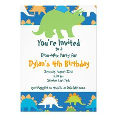 Green and Blue Dinosaur Birthday Party Invitations SOLD on Zazzle