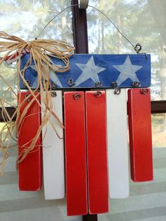 Fourth Of July Decor, 4th Of July Decorations, July 4th, July Crafts, Holiday Crafts, Holiday Ideas, Paint Stick Crafts, American Flag Crafts, Wood Craft Patterns