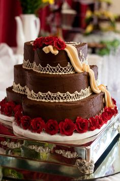 Heart Shaped Chocolate Wedding Cake