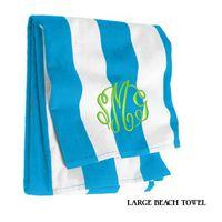 Monogrammed Large Cabana Stripe Beach Towel - Turquoise & White
