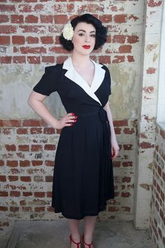 Classic Vintage Dresses perfect for Goodwood Revival, Twinwood Festival by Seamstress of Bloomsbury 1940,s Dresses available from RocknRomance.co.uk vintage model