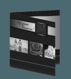 Strakke foto trouwkaart zwart-zilver. #trouwkaarten #bruiloft #trouwen