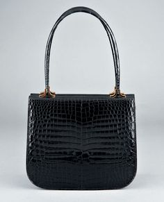 Asprey black crocodile handbag, 1970