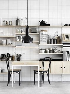 String Shelving in the Kitchen: Remodelista