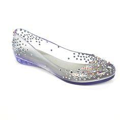 Melissa Shoes see through jelly diamante flats.... Modern glass slipper?