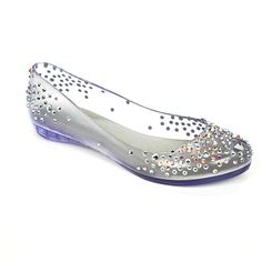 Melissa Shoes see through jelly diamante flats.... Modern glass slipper?