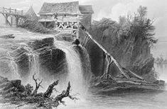 Bytown sawmill erected by Jean Saint-Louis in 1830 on the Rideau River near Bytown. Engraving attributed to E. Benjamin, from a drawing by William Henry Bartlett (1809-1854), in Willis, N.P., Canadian Scenery, London, 1842
