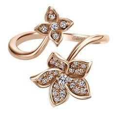 14k Pink Gold Diamond Fashion Ladies' Ring | Gabriel & Co NY | LR50640K45JJ