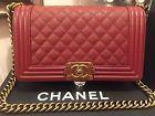 Authentic Chanel le Boy Medium Caviar Red Bag