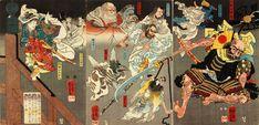 Tengu (both as bird-creatures and as human figures) assisting Ushiwakamaru (Minamoto no Yoshitsune) to subdue Benkei at Gojo Bridge.