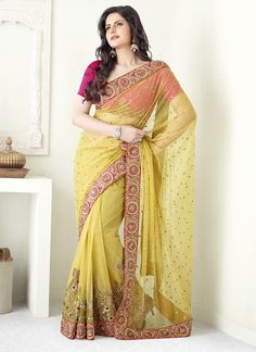 Yellow Sequins Embroidered Net Saree SACVP7412