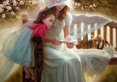 25 Beautiful Oil Paintings by Andrei Belichenko - Woman, Garden and Dreams Igor Levashov, Vladimir Volegov, Claudia Tremblay, Master Of Fine Arts, Wise Women, Russian Art, Mothers Love, Mother And Child, Beautiful Paintings