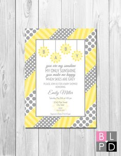 You Are My Sunshine Baby Shower Invitation   Grey And Yellow Polka Dots And  Stripes