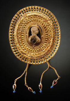 Large Royal Roman Fibula with Cameo, Late 2nd-Early 3rd Century AD.