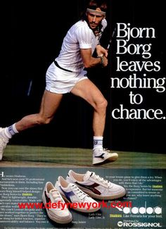 Bjorn Borg ad for Diadora. Tennis Equipment, Tennis Gear, Sport Tennis, Diadora Sneakers, Sports Advertising, Vintage Tennis, Vintage Ads, Tennis Funny, Tennis World