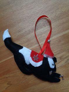 Handmade black and white felt Christmas Border collie dog hanging decoration by CraftyBunnyDog on Etsy