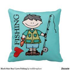 Black Hair Boy I Love Fishing Throw Pillow