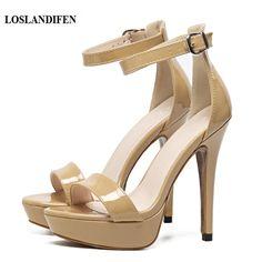 26.27$  Watch here  - LOSLANDIFEN 13CM Super Sexy High Thin Heel Women's Ankle Strap Sandals 3cm Platform Stiletto Nude Party Club Shoes