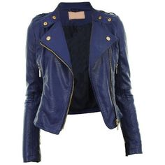 Diana New Womens Faux Leather Biker Gold Button Zip Crop Ladies Jacket... (170 PLN) ❤ liked on Polyvore featuring outerwear, jackets, leather jacket, tops, faux leather biker jacket, blue zipper jacket, blue faux leather jacket, blue jackets and biker jacket