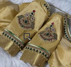 New Saree Blouse Designs, Fancy Blouse Designs, Bridal Blouse Designs, Blouse Patterns, Dress Designs, Embroidery Works, Hand Embroidery Designs, Bridal Jewelry, Gold Jewelry