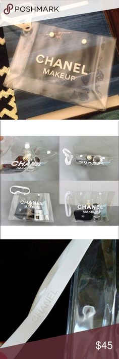 Transparent CHANEL makeup bag VIP gift from Chanel Transparent CHANEL makeup bag.  10x7.5x3.5 with rubber wristband CHANEL Bags