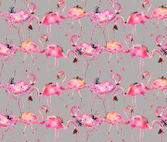 flamingos on gray smallest fabric by karismithdesigns on Spoonflower - custom fabric
