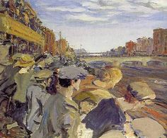 The Liffey Swim - Jack B. Yeats I remember the first time I saw this in Dublin - couldn't take my eyes off it! Irish Painters, Jack B, Irish Landscape, Irish Art, Art For Art Sake, Famous Artists, Figure Painting, Photographic Prints, Landscape Paintings