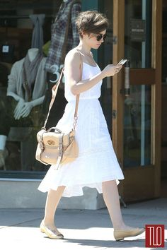 Lily Collins Thanks Fans For Birthday Book - See The Cute Pic!: Photo Lily Collins takes advantage of the warmer weather and wears a cute sundress while out in Los Angeles on Wednesday afternoon (March Earlier in the week,… Lily Collins Short Hair, Lily Collins Style, Short Hair Cuts, Short Hair Styles, Pixie Outfit, Long Pixie, Mulberry Street, Pixie Hairstyles, Looks Style