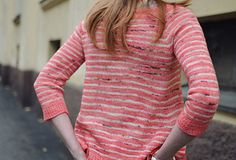 Confetti sweater is both loose and fitted – in all the right places! Fitted yoke and sleeves are paired with a very A-line shaped body making this little sweater fun and easy to wear. Confetti also has delicate stripes, making the color possibilities practically endless. Choose your favorite colors and cast on!