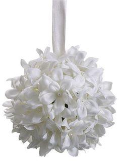 6in White Stephanotis Kissing Ball. Could bling it up.
